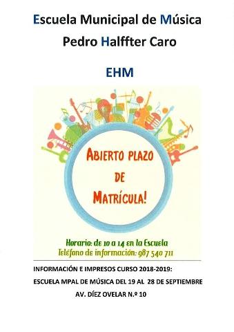 Foto de Abierto el Plazo de Matrícula para la Escuela Municipal de Música Pedro Halffter Caro